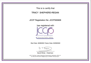 JCCP membership certificate Tracy Shepherd-Regan Indulgence Skin Laser and Beauty Clinic Daventry serving Northamptonshire, Daventry, Buckinghamshire, Leicestershire, Warwickshire, Rugby
